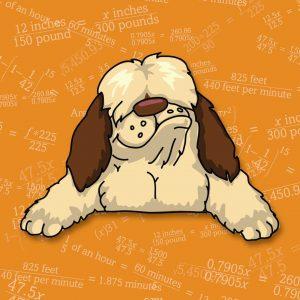 Shaggy Dog Math Book logo dog with background art