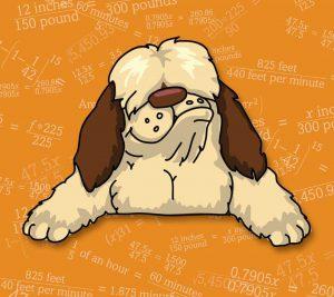 Shaggy Dog Math logo dog with background