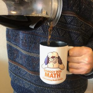 pouring coffee into a shaggy dog math coffee cup
